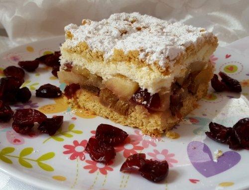 Apple cake with cinnamon, raisins and cranberries